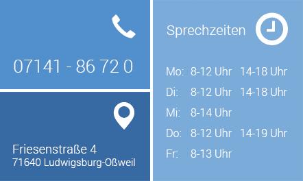 Telefon: 07141 86720, Friesenstraße 4, Ludwigsburg-Oßweil, Sprechzeiten